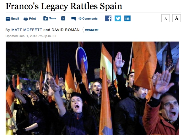 El Wall Street Journal alerta que 'el llegat de Franco ressona a Espanya'