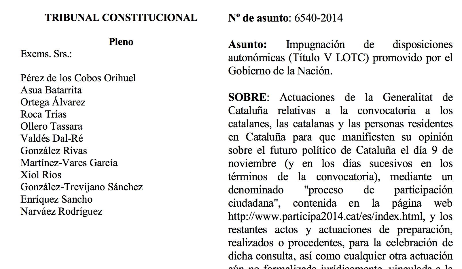 La nova resolució del Tribunal Constitucional espanyol contra el 9-N