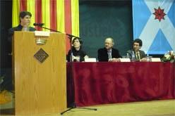 X.Macià escoltat per H.Marçal, R.M.Guiu i<br>O.Izquierdo. (foto: vilaweb mollerussa)