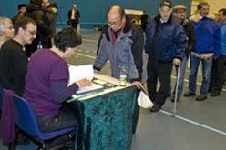 Un moment del referèndum a Nuuk, capital de Grenlàndia.