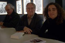 D'esquerra a dreta: el crític literari Sam Abrams, el poeta Màrius Sampere i l'editora Maria Lleonard.