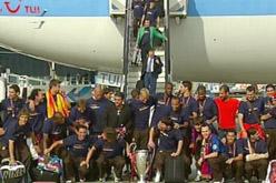 Arribada dels campions a l'aeroport del Prat.