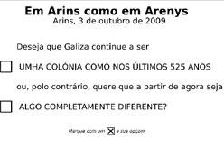 Papereta de la consulta d'Arins.
