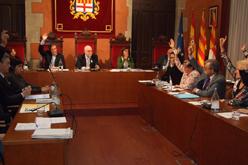 Ple de l'Ajuntament de Manresa en el moment de la votació