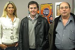 Anna Arqué, Uriel Bertran i Jordi Miró, en la seva visita al Parlament Europeu.