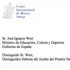 Carta de Jordi Savall a Jos� Ignacio Wert renunciant al Premio Nacional de M�sica