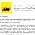 Carta de la CUP a Pablo Iglesias: 'Benvingut als Pa�sos Catalans'
