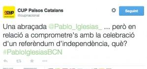 La resposta ir�nica de la CUP a Pablo Iglesias